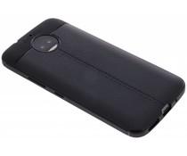 Zwart Lederen siliconen case Motorola Moto G5S Plus