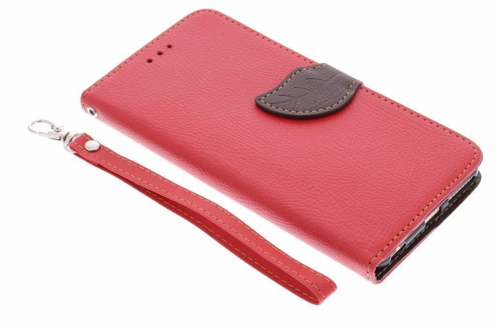 Rode blad design TPU booktype hoes voor de iPhone 6(s) Plus