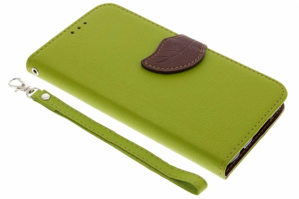 Groene blad design TPU booktype hoes voor de Huawei P20 Lite