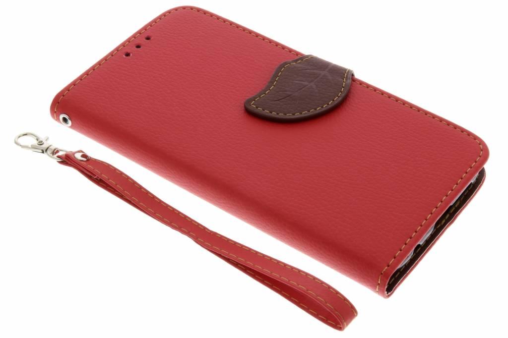 Rode blad design TPU booktype hoes voor de Huawei P20 Lite