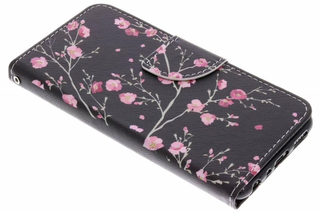 Pink Flowers design TPU booktype hoes voor de Huawei P Smart