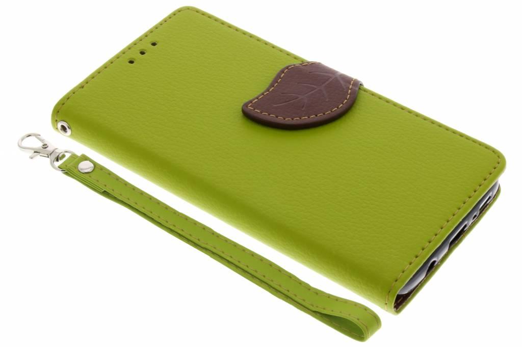Groene blad design booktype hoes voor de Samsung Galaxy S9