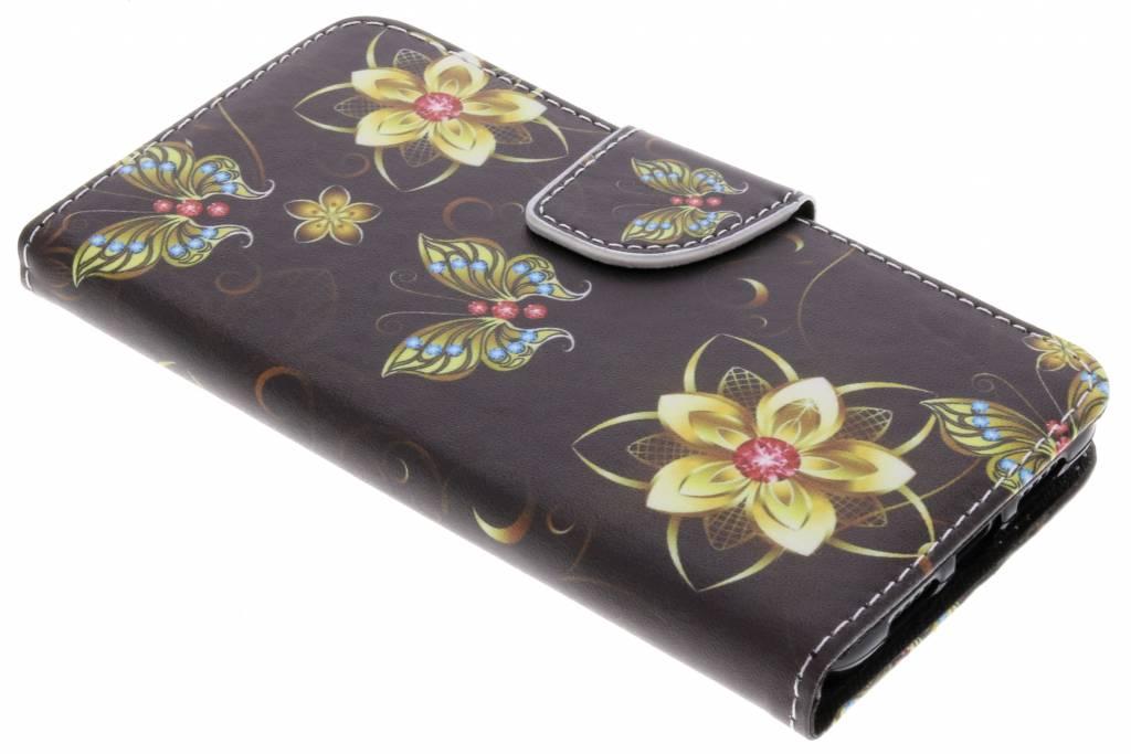 Vlinders met bloemen design TPU booktype hoes voor de Huawei P20
