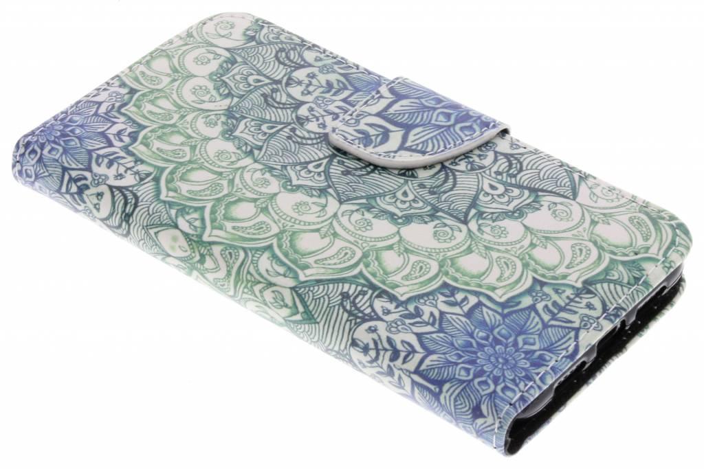 Blauwe mandala design TPU booktype hoes voor de Huawei P20