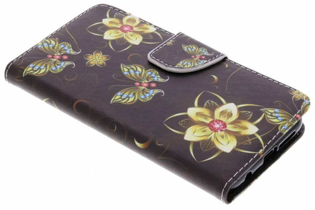 Vlinders met bloemen design TPU booktype hoes voor de Huawei P20 Lite