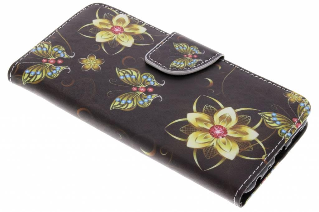Vlinders met bloemen design TPU booktype hoes voor de Huawei P Smart