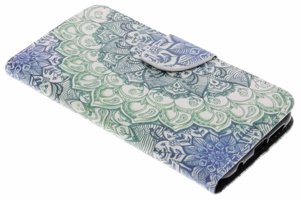 Blauwe mandala design TPU booktype hoes voor de Huawei P20 Lite