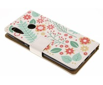 Flowers & Leaves Design TPU Bookcase Asus ZenFone Max M1