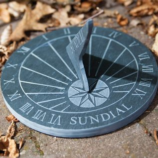 Esschert Design Leisteen zonnewijzer tekst rond
