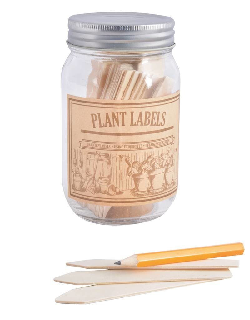 Esschert Design Houten plantenlabels in glazen pot