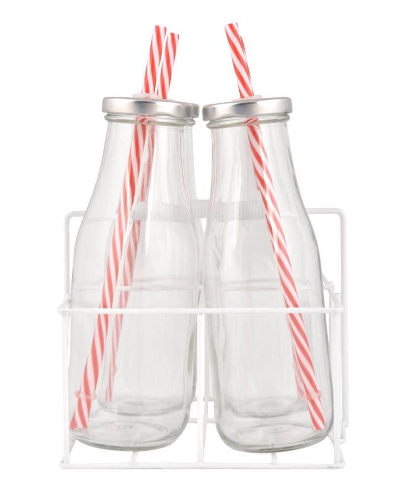 Esschert Design 4 flessen met rietjesdeksel in krat