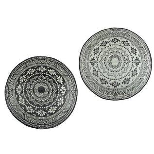 Esschert Design Tuintapijt - Rond - zwart/wit