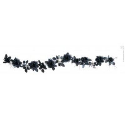 Halloweenaccessoires guirlande met zwarte rozenschedelsverlichting 180cm