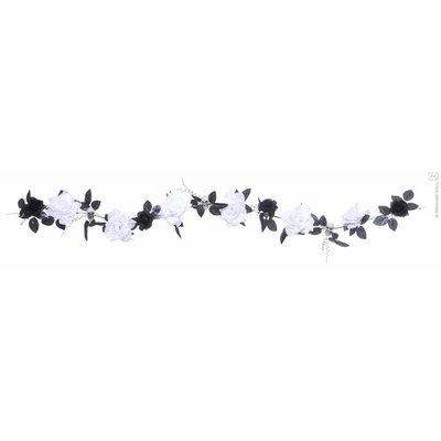 Halloweenaccessoires guirlande met witte rozenschedelsverlichting 180cm