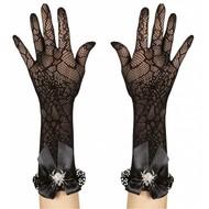 Halloweenaccessoires handschoenen spinneweb met strass spin