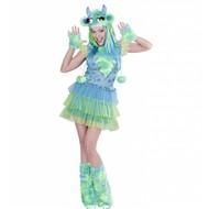 Halloweenkostuum groen monster meisje