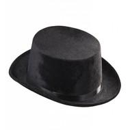 Halloweenaccessoires hoge hoed grijs fluweel