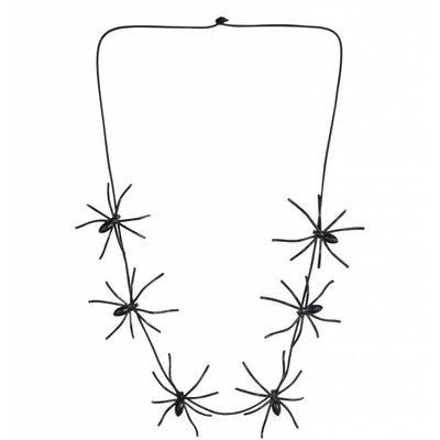 Halloweenaccessoires ketting spinnen 60cm