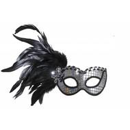 Halloweenaccessoires oogmasker holografisch met veren