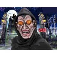 Halloweenmaskers: Vampiersmasker met kap en oplichtende ogen