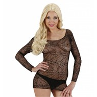 Halloweenkleding zwart spinneweb shirt