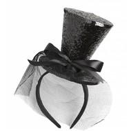 Halloweenaccessoires zwarte mini hoge hoed met sluier