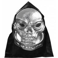 Halloweenaccessoires pvc schedelmasker metalic met kap