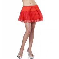 Halloweenaccessoires petticoat rood met franje