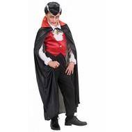 Halloweenaccessoires kindercape zwart met rode kraag