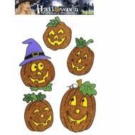 Halloweenaccessoires: Raamstickers 13 cm pompoenen