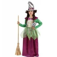 Halloweenkleding heks kind groen/paars