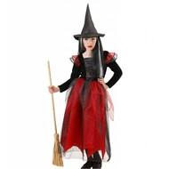 Halloweenkleding heks kind zwart/rood