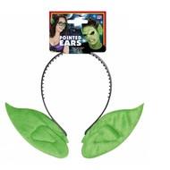 Halloweenaccessoires hoofdband met puntoren kleur groen