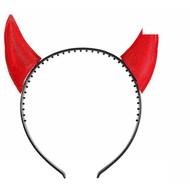 Halloweenaccessoires spiegelende duivelshoorn rood
