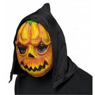 Halloweenaccessoires pvc pompoenmasker met kap