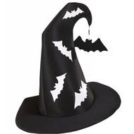 Halloweenaccessoires heksenhoed met vleermuizen