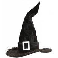 Halloweenaccessoires fluwelen heksenhoed met plusche