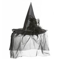 Halloweenaccessoires heksenhoed met tule-veren en spin