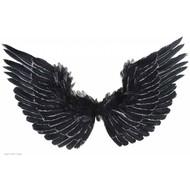 Halloweenaccessoires vleugels zwart met zilver glitter 86x42cm