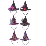 Halloweenaccessoires hoofdband heksenhoed
