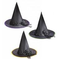 Halloweenaccessoires heksenhoed kind met zilveren sterren