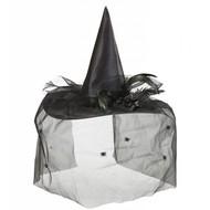 Halloweenaccessoires heksenhoed met tulle bloem en veren