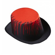 Halloweenaccessoires hoge hoed zwart met bloed