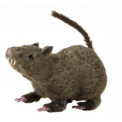 Halloweenaccessoires harige rat 21cm