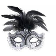Halloweenaccessoires oogmasker zwart/zilver glitter met diamant en veren