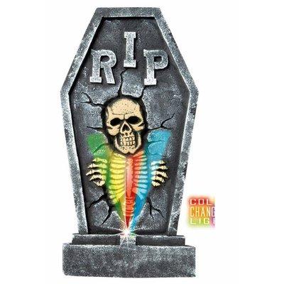 Grafsteen met wisselende kleuren lichtjes voor Halloween