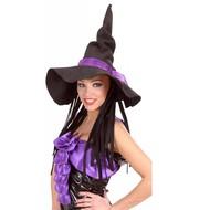 Halloweenaccessoires heksenhoed vilt met haar