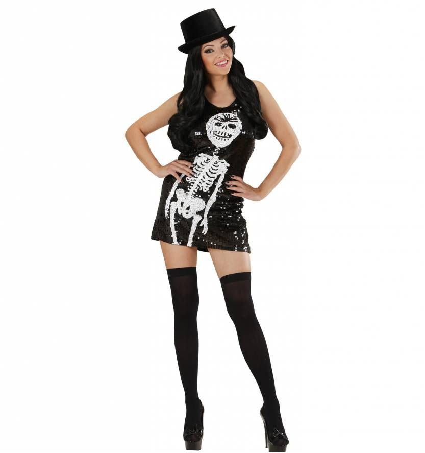 3f0ad26c3f936d Halloweenkleding paillettenjurkje met skeletje als opdruk