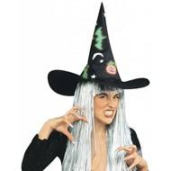 Halloweenaccessoires: Heksenhoed ,met glow in the dark motiefjes