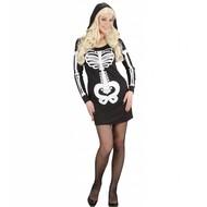 Halloweenkleding glamour skelet meisje